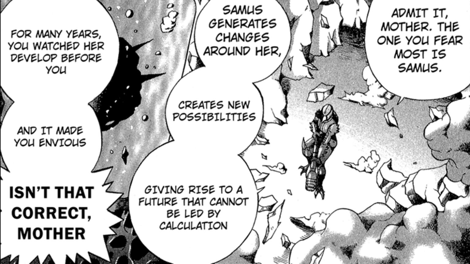 Metroid Manga Grey Voice taking down Mother Brain Ultimate Warrior